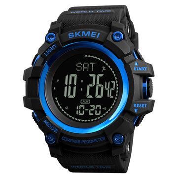 SKMEI 1356 מצפן מד צעדים קלוריה ספורט שעונים הכרונוגרף שעון עולמי שעון עצר שעון דיגיטלי