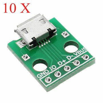 10pcs Micro USB To Dip Female Socket B Type Microphone 5P Patch To Dip With Soldering Adapter Board