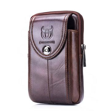 Bullcaptain® Men Genuine Leather Belt Bag Vintage Phone Pouch Multi-function Fanny pack