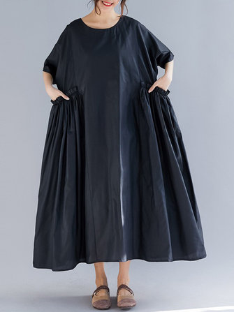 Plus Size Casual Half Sleeve Pleated Maxi Dress