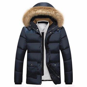 पुरुषों शीतकालीन फर कॉलर डिटेक्टेबल हूड मोटी गर्म गद्देदार जैकेट पार्क