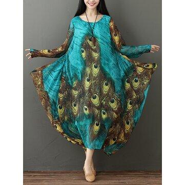 Gracila Kadın Vintage Peacock Feather Print Gevşek Uzun Kollu Elbiseler