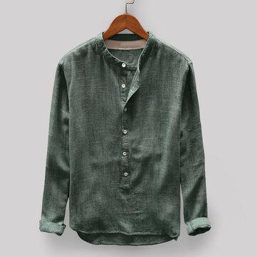 Nam cổ điển lỏng lẻo Comfy rắn màu nút bay đứng cổ áo dài tay áo thun giản dị