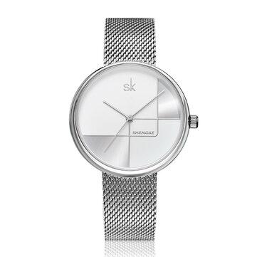 SHENGKE SK K0105L Dòng hình học Kim đơn giản Quay số phụ nữ Full Steel Ladies Dress Luxury Thạch anh