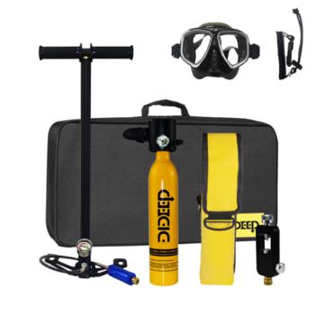 DIDEEP 7 In 1 Underwater Diving Set 0.5L Oxygen Cylinder Oxygen Tank Storage Bag Adapter Air Pump Handbag Goggles Diving Swimming Equipment