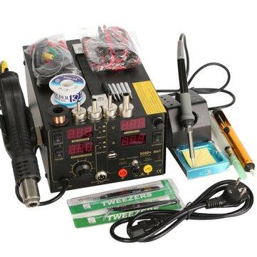 Saike 220V 909D+ Rework Soldering Station + Hot Air Gun + DC Power Supply  3 in 1  Multi-function Set with full Accessories