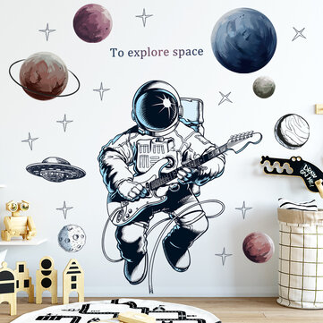 Space Theme Astronaut Wall Sticker Dormitory Living Room Wall Decor Self Adhesive Bedroom 3d Kids Room Decoration Home Decor Sale Banggood Com