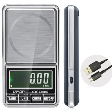 600g 0.01g Electronic LCD Jewelry Scale Digital Pocket Weight Mini Precision Balance USB Interface