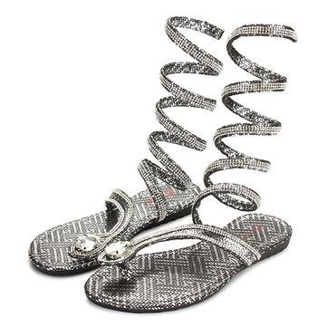 Moda Mujer talón plano Bling Rhinestone Slingback Gladiador Sandalias zapatos Nuevo
