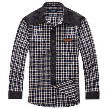 बिग साइज एक्सएल -6 एक्सएल प्लेड स्प्रिंग शरद लांग आस्तीन पुरुषों लूज कपास शर्ट