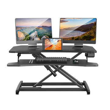 BlitzWolf® BW_ESD2 Electric Powered Standing Desk 34 inch Wide Adjustable Height Dual Monitors Desk Riser 2.0A 10W USB Charger Removable Keyboard Tray