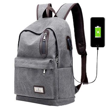 Мужская мода Рюкзак Холст Повседневный легкий вес Mochila с внешним USB-портом зарядки