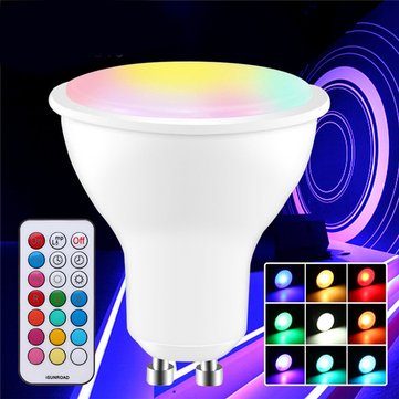 GU10 GU5.3 3W 5730 SMD RGB+White Dimmable LED Light Bulb with Remote Control AC85-265V