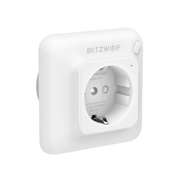 BlitzWolf® BW_SHP8 3680W 16A WiFi Smart Wall Plug Wireless Wall Power Socket Outlet Energy Monitoring No Hub Required App Remote Control Voice Control Works With Amazon Alexa and Google Assistant