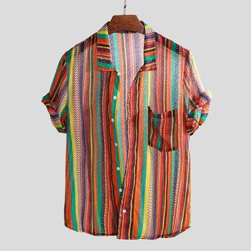 Mens Colorful Striped Printed Chest Pocket Vintage Lösa Lätta T-shirts
