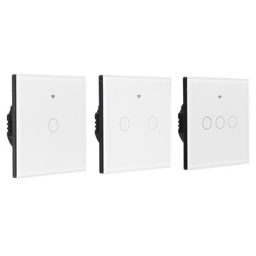 EU/UK 1/2/3 Gang eWelink WIFI Smart Wall Light Switch Touch Panel APP Remote Control Switch Single Live Wire Neutral Line Switch