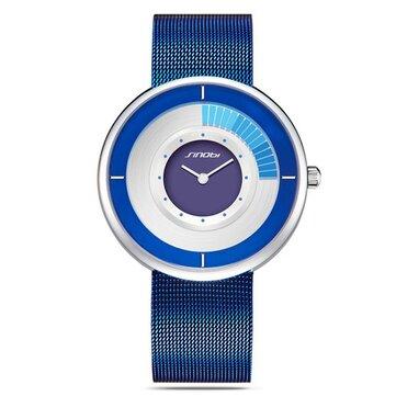 SINOBI 9703 Creative Ultra Thin Rotate Dial Men Women Fashion Mesh Strap Wrist Watches