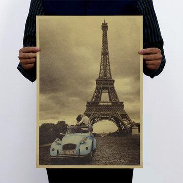 Poster da torre de Paris do vintage Papel de parede retro do poster de Kraft Decoração Home