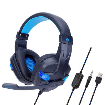 Portable Foldable 7.1 Surround Sound Gaming Headphone Noise Cancelling Earphone with LED Light for PC PS4 Xbox Gamer