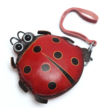 Women Genuine Leather Ladybug Pattem Mini Coins Bag Card Holder Coin Purse