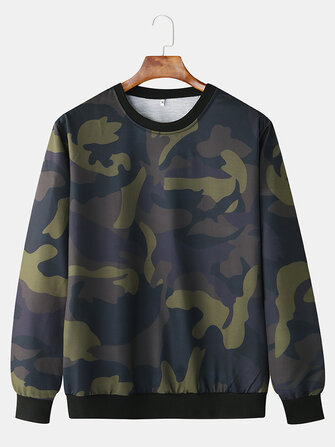 Buy Men Fashion Casual Camouflage Elastic Hem Crew Neck Sweatshirt   with Litecoins with Free Shipping on Gipsybee.com
