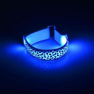Pulsera con correa de mano de leopardo LED Brillo con luz de reflexión Flash Pulsera con pulsera de brillante y luminosa Muñeca de ciclismo de vacaciones de muñeca