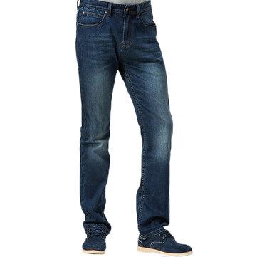 पुरुषों सीधे पैर आकस्मिक मध्य कमर व्यापार जीन्स कपास स्लिम फ़िट आरामदायक डेनिम पैंट