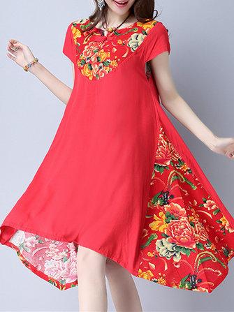 लोक महिला लघु आस्तीन प्लेट बकल पुष्प मुद्रित कपड़े