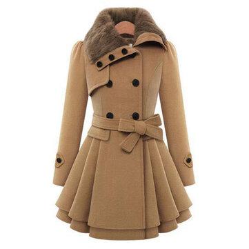 Women Double-Breasted Winter Warm Long Overcoat Dress