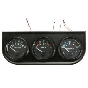 2 inch 52mm Áp suất dầu Volt Nước Temp 3 Bộ dụng cụ đo điện tử 8-16V Ô tô LED