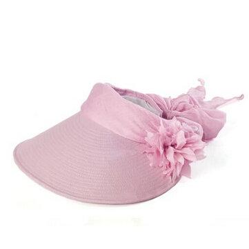 महिलाओं के देवियों ग्रीष्मकालीन यूवी सबूत सूर्य टोपी Outdooors बागवानी समुद्र तट फूल Foldable टोपी का छज्जा