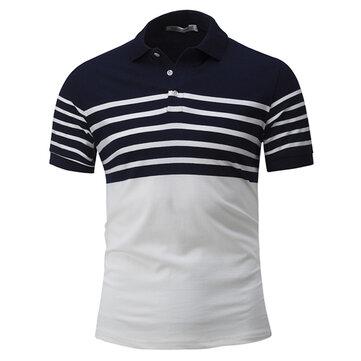 पुरुषों की आकस्मिक संक्षिप्त पट्टियाँ हिट रंग अंचल लघु आस्तीन टी शर्ट