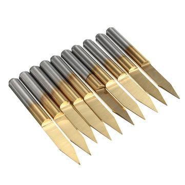 10pcs 3.175mm Shank 30 Degree 0.2mm PCB Engraving Bit Titanium Coated Carbide CNC Cutter Bits
