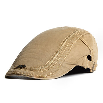 Mens Cotton Embroidery Painter Beret Caps Casual Outdoor Visor Forward Hat