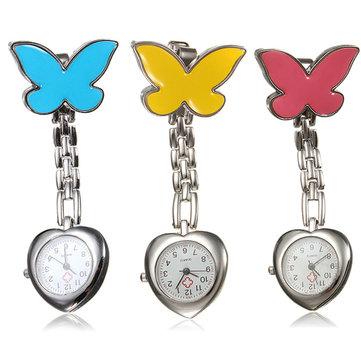 Butterfly Nurse Clip Heart Brooch Stainless Pocket Watch