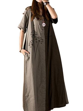 Wanita Kasual Dandelion Dicetak Patchwork Scoop Neck Lengan Pendek Maxi Dress