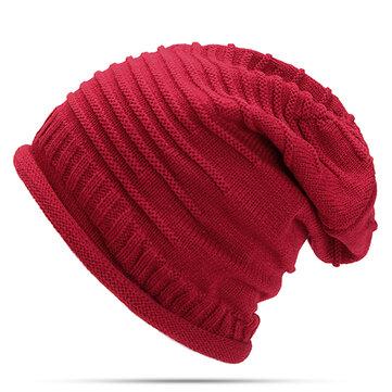 Women Knitted Woolen Stripe Beanie Hat Casual Foldable Warm Head Cap