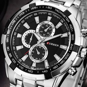 CURREN 8023 Fashion Men Style Watch Waterproof Fake Three Dials Analog Quartz Watch