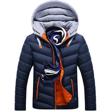 पुरुषों शीतकालीन मोटी हुड सिलाई जैकेट फैशन गद्दी आरामदायक आरामदायक जिपर जेब कोट