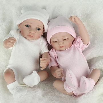 2pcs gemelos renacer muñeca Silicona hechos a mano realista bebé jugar casa baño juguete
