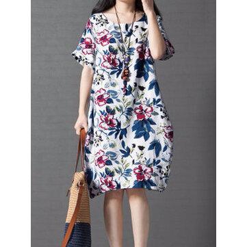 विंटेज महिला लूज प्रिंटिंग लघु आस्तीन ड्रेस
