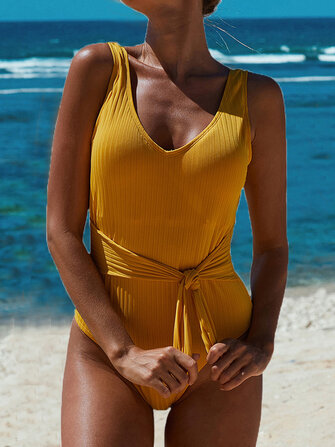 Women Knitted Jacquard Wide Straps Open Back One Piece Swimwear with Belt for sale in Litecoin with Fast and Free Shipping on Gipsybee.com