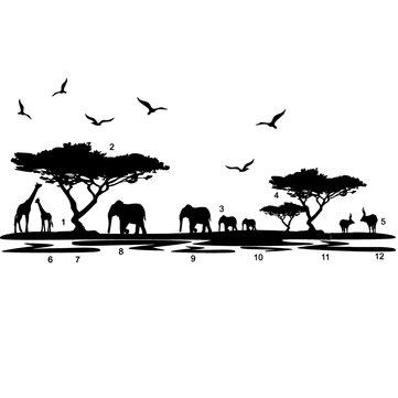 Africano animais elefante adesivos de parede mural preto casa decalque arte removível decoração da sala de vinil diy