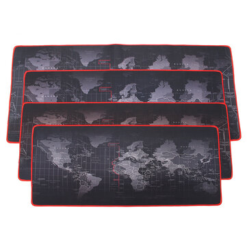 2mm Large Non-Slip World Map Game Mouse Pad Mat with Red Hem For PC Laptop Computer Keyboard