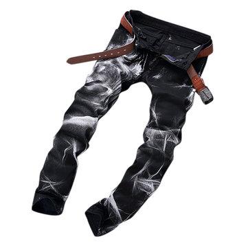 पुरुषों फैशन वुल्फ प्रिंटिंग ब्लैक स्ट्रेट लेग डेनिम लांग पैंट जीन्स यूएस साइज 30-40