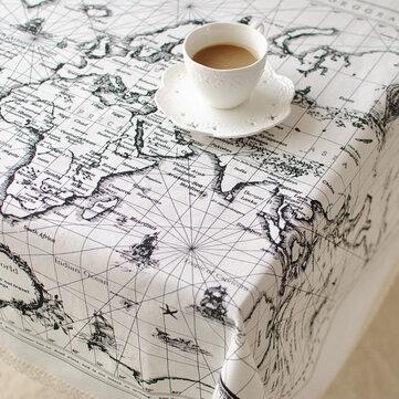 Bản đồ thế giới Mẫu vải lanh cotton Bộ đồ ăn Mat Khăn trải bàn Khăn trải bàn cách nhiệt Bát Pad Kích thước 3