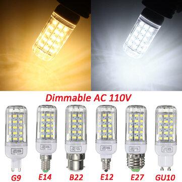 E27 / e14 / e12 / B22 / G9 / gu10 regulável 5W AC110V LED lâmpada de 50 SMD lâmpada de luz branca / quente branco 5730 de milho