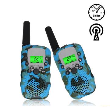 2Pcs T388 Children Camouflage Walkie Talkie 22 Channel 0.5W Radio Transceiver Built-in Flashlight