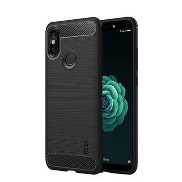 Mofi Carbon Fiber Shockproof Silicone Back Cover Protective Case for Xiaomi Mi Max 3