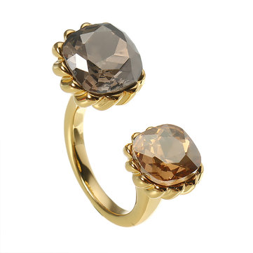 JASSY® 18K Gold Plated Luxury Open Ring Exquisite Crystal Anallergic Adjustable Ring for Women Gift